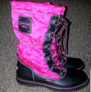 Coach PINK/BLACK Snow BOOTS 8